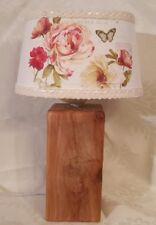 Shabby Tischlampe Landhaus Tischleuchte Holz Lampe Unikat Rosen Nachttischlampe