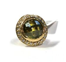 STORY 925 Sterling Silver Gilt GREEN Crystal Button Charm  RRP £69.00