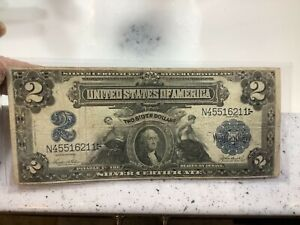 1899 $2 Two Dollar Silver Certificate *Grand Pa's Collection*Mini Porthole, Rare