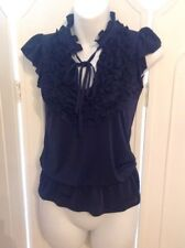 DUNNES NEW BLUE NAVY RUFFLED STYLE TOP SIZE 8