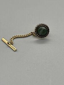 Vintage Brass Mens Tie Tack Green Stone
