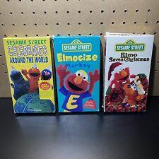 3 VHS VIDEO LOT-Sesame Street - Celebrates Around the World,Elmocize,Elmo Saves