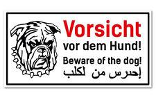 Warnschild Vorsicht Hund Pitbull - 3-sprachig für Zaun ,Tür gegen Einbrecher