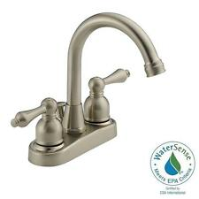 WAS00x-07 4 in. Centerset 2-Handle Bathroom Faucet in Satin Nickel with Drain