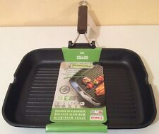 BNWT GRANDCHEF  Nonstick foldable Wooden Handle Grill Pan/ Griddle 25X35 cm