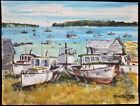 Original 1993 Listed Maine Artist Bill Paxton Rockport Maine Nautical Painting