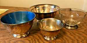 """Set of 4 Vintage 4-6"""" silver plated Revere Bowls: Towle silver plus more!"""