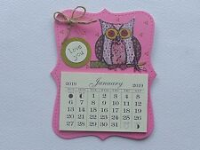 PINK OWL LOVERS LOVE YOU  HANDMADE 2019 MAGNETIC CALENDAR TEAR OFF PAGES