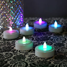6 Jumbo Amber Tea Flickering LED Lights w/ Color Changing Option & Batteries