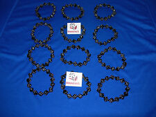 NEW 12 HAND MADE STRETCHY BLACK DICE BRACELETS WITH WHITE PIPS FREE SHIPPING