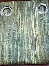 2 X CURTAIN SET RIVIERA 140 CM X 160 CM OLIVE GREEN TIGER STRIPE LOOK NEW EYELET