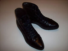 NWOB STEVE MADDEN black leather lace-up flat ankle boots US Sz 8M