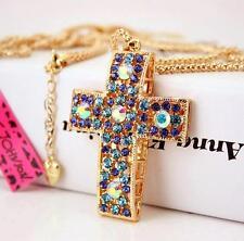 Women Gift Jewelry Charm Blue Crystal Cross Pendant Enamel long Necklace