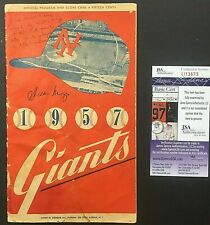 1957 Willie Mays Signed Program Final NY Giants Game Played At Polo Grounds RARE