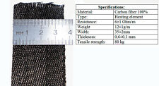 Carbon fiber flex heater tape 1m x 35mm DIY heated vest gloves insoles jacket