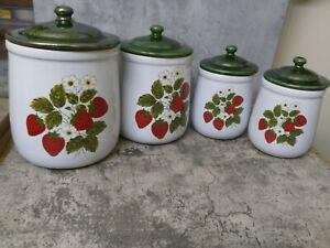 Vintage McCoy 4 pc Pottery Strawberry Canister Set With Lids MINT CONDITION