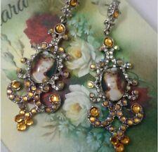 Lady Marie Antoinette Edwardian glass cabochon drop large rhinestone earrings