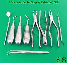 9 Pcs Basic Dental Surgery Extracting Forceps Elevators Set Kit Ex 346