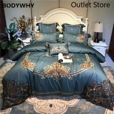 Luxury Embroidery 100S Egyptian Cotton Bedding Sets Quilt Cover Bed Sheet Set