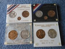 LOT OF 4 ANA COVENTION MEDAL YEAR SETS SILVER+BRONZE EACH IN PLASTIC HOLDERS