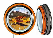 "Piper Cub 19"" Double Neon Clock Orange Neon Chrome Finish Airplane Aircraft"