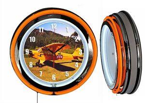 "Piper Cub 19"" Double Neon Clock Orange Neon Chrome Finish Airplane Aircraft"