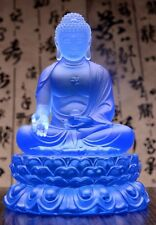 Blue Color Sakyamuni Buddha on Lotus Base Crystal Sculpture Art Glass Statue