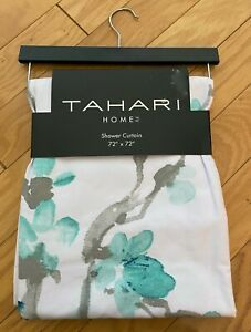 NWT Tahari Home White Aqua Blue Floral Print Fabric Shower Curtain Cotton 72x72