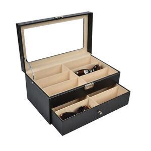 12  Grids Eyeglass Sunglasses Glasses Storage Case Display Shop Box Case UK