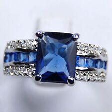 Bague ,blue zircon, Plaqué or blanc ,femme, taille 57 #