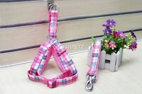 Pink Fabric Plaid Tartan Dog Harness Xsmall Small Medium Large Checked Step in