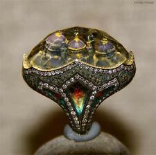 Vintage 925 Sliver 18K Gold Filled Emerald Amethyst Ring Women Wedding Sz 6-10