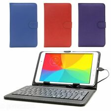 """Universal Leather Case with KEYBOARD for Samsung Android 7"""" 8"""" 9 Inch Tablets"""