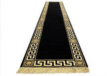 Teppich Läufer Schwarz 80x400 cm Kunst-Seide Mäander Medusa Rug Carpet versac