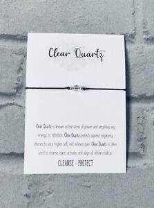 Clear Quartz Bracelet Bead Reiki Chakra Crystal Gemstone Anxiety Stress Healing