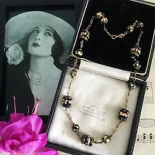 Vintage Art Deco Black Venetian Wedding Cake Lampwork Beads Necklace Rolled Gold