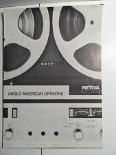 1968 REVOX 77a Advertising Flyer Anglo American opinions from Audio Magazine