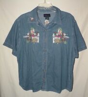 Embroidered Faded Blue Cotton Short Sleeve Blouse CST Blues Plus Size 18 20 2X