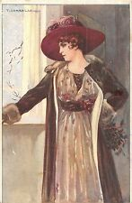 POSTCARD   GLAMOUR  Lady  in  the  Brown  Hat                     CORBELLA