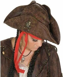 Piratenhut Pirat Hut Leder Look Seeräuber Karneval Fasching Mütze Piratin