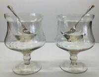 Vintage Pair Etched Glass Shrimp Cocktail Footed Goblets W/Inserts & Forks