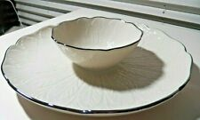 Beautiful & Very Nice Lenox Chip & Dip Serving Dish w Silver Trim