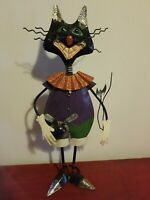 "ADORABLE LARGE 17"" FOLK ART METAL BLACK CAT HALLOWEEN DECOR"