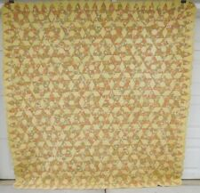 """Vintage West Virginia Quilt-6 POINT STAR In Hexagon-Yellow Gold Olive Green-82"""""""