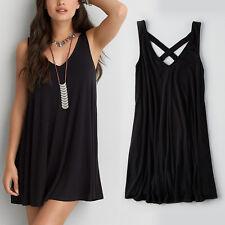 Plus Size 6XL Black Sexy Sleeveless Loose Casual Dress Women Summer Dresses