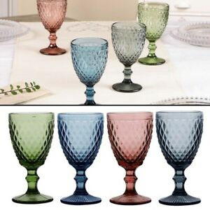 Wine Glasses Set Diamond Embossed Cut Glass Vintage Style Drink Goblets 270ml
