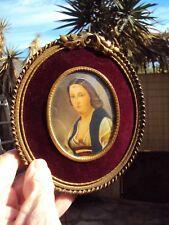 Joli petit cadre peinture miniature portrait de femme 19 ème