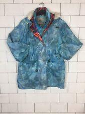 VINTAGE RETRO BRIGHT BOLD HOODED SKI STYLE JACKET COAT WINDBREAKER UK 16 #342