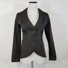 Cabi womens blazer jacket size 0 gray fitted 2 button career tailored hi lo