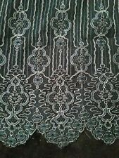 "Outstanding Antique Rich Gold Metallic On Black Net Lace Section 26"" X 17"" #13"